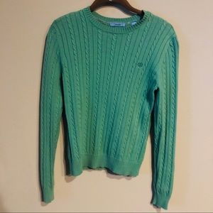 Izod green cable knit sweater size S